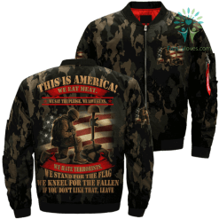 This is america! we eat meat. we say the pledge... leave Over Print Jacket %tag familyloves.com