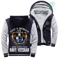 Just a woman who loves her navy veteran Woman Hoodie 50% warm woman %tag familyloves.com