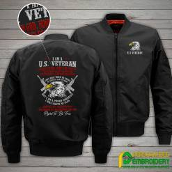 familyloves.com I Am A U.S. Veteran I Believe In God, Family And Country...Embroidery Jacket %tag