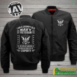familyloves.com I Am A Grumpy Old Navy Veteran Embroidery Jacket %tag