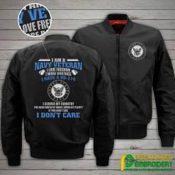 familyloves.com I Am A Navy Veteran I Love Freedom I Wore Dogtags I Have A DD-214 Embroidery Jacket %tag