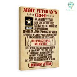 Army Veteran's Creed Canvas %tag familyloves.com