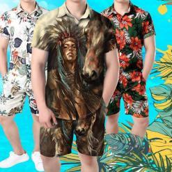 Native American girl and horse Shirt and Short Pant %tag familyloves.com