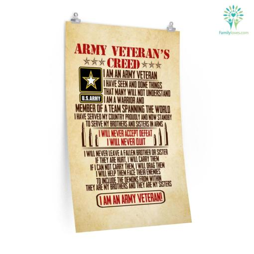 Army Veteran's Creed Posters %tag familyloves.com