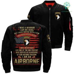 I was a warrior i am no hero airborne over print Bomber jacket %tag familyloves.com