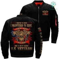 I wanted to serve i volunteered veteran over print Bomber jacket %tag familyloves.com