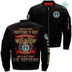 Volunteer for veterans I wanted to serve i volunteered air force veteran over print Bomber jacket %tag familyloves.com