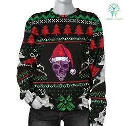Ugly Christmas Santa Skull Black Women's Sweater %tag familyloves.com