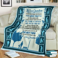 My Dear Grandson Sherpa Fleece Blanket %tag familyloves.com
