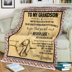 To My Grandson Sherpa Fleece Blanket %tag familyloves.com