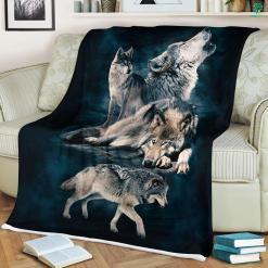 Gift For Wolf Lover Sherpa Fleece Blanket blanket fleece fleece blanket %tag familyloves.com