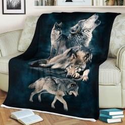 Gift For Wolf Lover Sherpa Fleece Blanket %tag familyloves.com