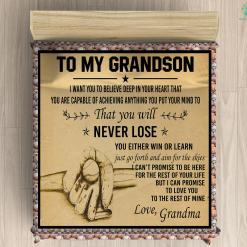 To My Grandson Microfiber Duvet Cover Gift %tag familyloves.com