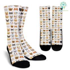 Cat Faces Socks (White) %tag familyloves.com