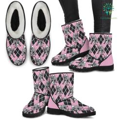 Elephant Argyle Faux Fur Boots %tag familyloves.com