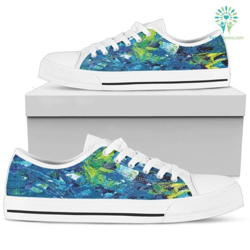 Abstract Oil Paintings P3 - Women's Low Top Shoes (White) %tag familyloves.com