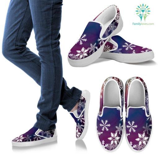 Blue Snowflake holiday sneaker slip-ons %tag familyloves.com