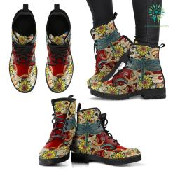 Handcrafted Dragonfly Mandala Red Boots %tag familyloves.com