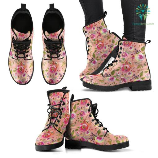 Floral Watercolour Roses Peonies (Apricot) - Leather Boots for Women %tag familyloves.com