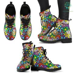 Handcrafted Colorful Flower Boho Boots %tag familyloves.com