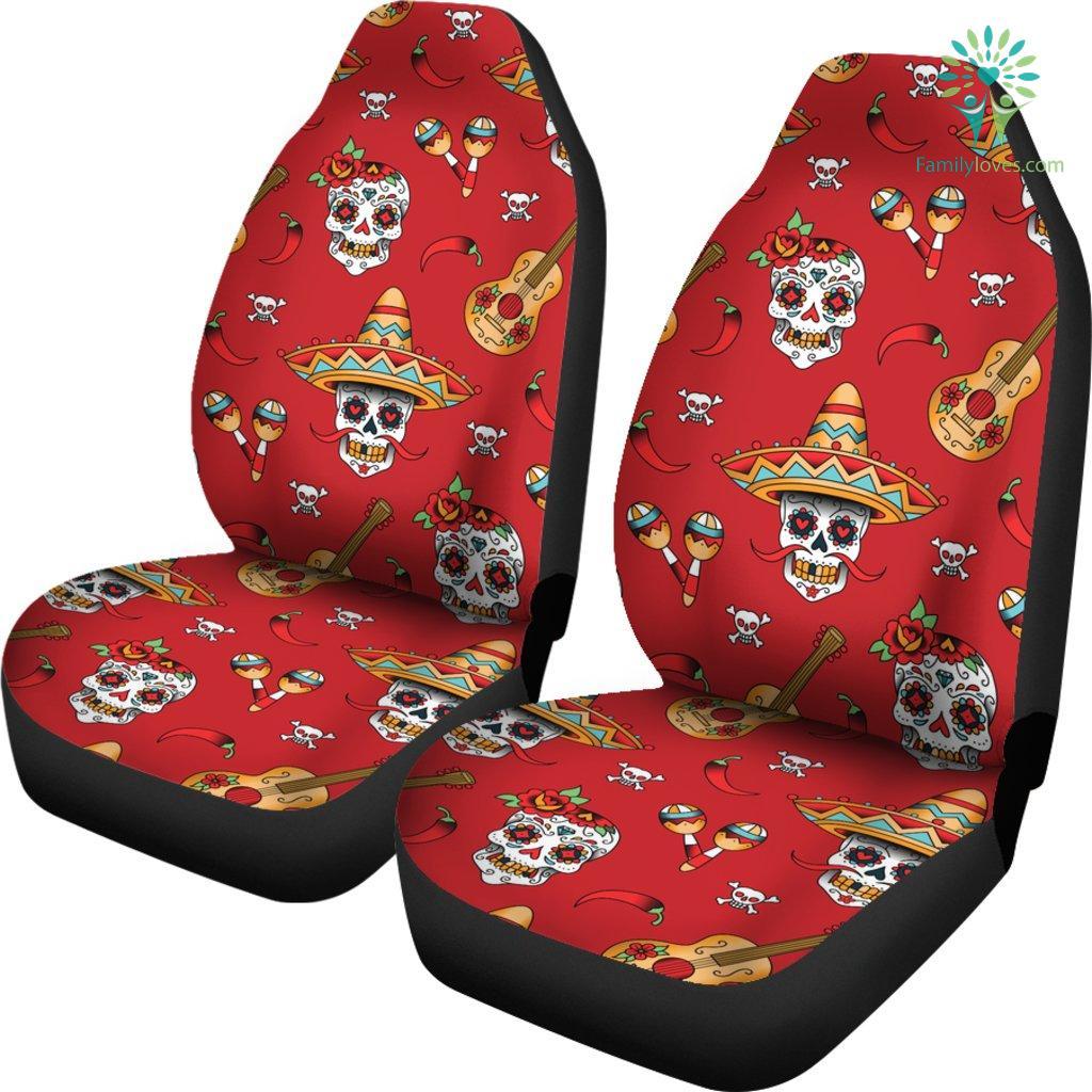 Remarkable Guitar Sugar Skull Car Seat Covers Evergreenethics Interior Chair Design Evergreenethicsorg