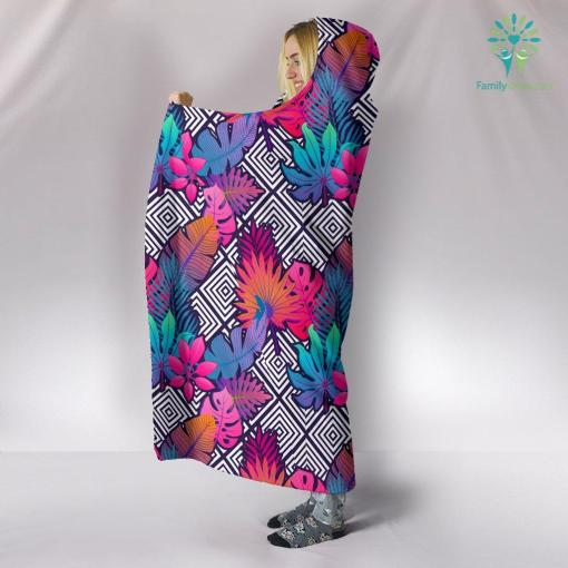 Boho Tropical Leaves Hooded Blanket %tag familyloves.com