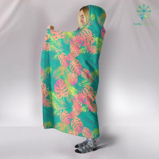 Boho Exotic Leaves Hooded Blanket %tag familyloves.com