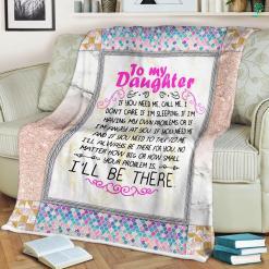 Gift for Daughter Christmas Sherpa Fleece Blanket-If you need me, call me. I don't care if I'm sleeping, if I'm having my... %tag familyloves.com