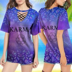 Goat Yoga Shirt Womens Funny T-Shirt Karma Recycle Yoga Women Philosophy Yoga Dog Shirt %tag familyloves.com