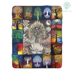 Tree Of Life Square Sherpa Fleece Blanket %tag familyloves.com
