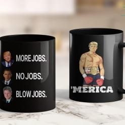 Bikers For Trump T Shirts Donald Trump More Jobs Obama No Jobs Bill Clinton Blow Jobs 11oz Coffee Mug %tag familyloves.com