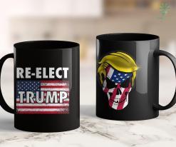 Donald J Trump T Shirts Re-Elect Trump With American Usa Flag 11oz Coffee Mug %tag familyloves.com
