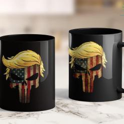 Donald Trump Coffee Cup Trump Hair Skull - 4Th Of July Us Flag Trump Gift 11oz Coffee Mug %tag familyloves.com