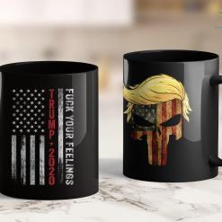 Funny Trump T Shirts Trump 2020 Fuck Your Feelings Vintage American Flag 11oz Coffee Mug %tag familyloves.com
