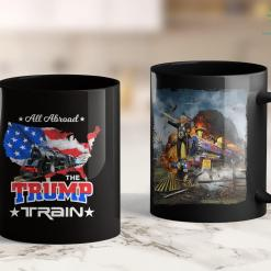 Onald Trump Shirt All Aboard The Trump Train 2020 American Flag 11oz Coffee Mug %tag familyloves.com