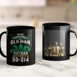 Pick Up Donation Never Underestimate An Old Man Vietnam Veteran Dd-214 Tee 11Oz 15Oz Black Coffee Mug %tag familyloves.com