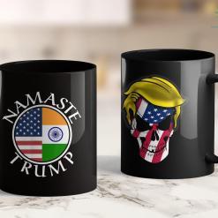 Trump 2020 Flag Amazon Namaste Trump American Flag And Flag Of India 11oz Coffee Mug %tag familyloves.com