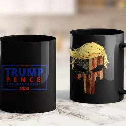 Trump 2020 Flag Free Trump Pence Campaign Logo Keep America Great Rally 11oz Coffee Mug %tag familyloves.com