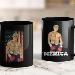 Trump 2020 Swimming Trunks Donald Trump Boxing Rocky K.O Vintage American Flag Trump 11oz Coffee Mug %tag familyloves.com