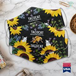 Unique Gifts For Cat Lovers Tacocat Spelled Backward Is Tacocat Love Cat And Taco Face Mask Gift %tag familyloves.com