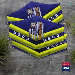 Us Coast Guard Vessels Vintage Coast Guard Mom American Flag Cool Veteran Day Gift Face Mask Gift %tag familyloves.com