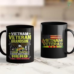 Vietnam War Soldier Proud Vietnam Veteran Grandson - Military Veterans Day Gift 11Oz 15Oz Black Coffee Mug %tag familyloves.com