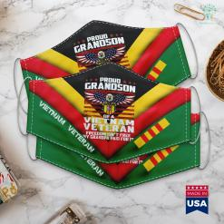 What Vietnam War Proud Grandson Of A Vietnam Veteran Ribbon Patriotic Family Face Mask Gift %tag familyloves.com