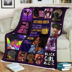 October Queen Black Girl Magic Sherpa Fleece Blanket %tag familyloves.com