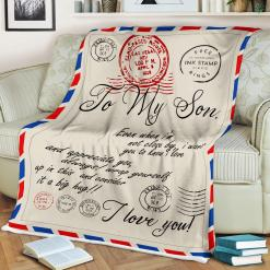 To My Son Even When I'm Not Close By I Want You To Know I Love Sherpa Fleece Blanket %tag familyloves.com