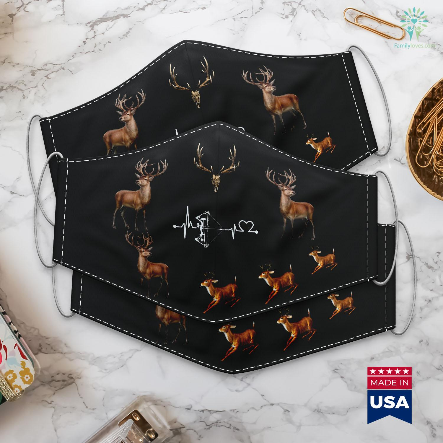 Deer And Deer Hunting Bow Hunter Heartbeat Funny Archery For Hunting Love Gift Cloth Face Mask Gift Familyloves Com