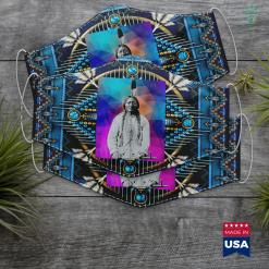 Native American Hoop Dance Sitting Bull Native American Cloth Face Mask Gift %tag familyloves.com
