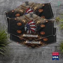 Native American Wolf Menominee Native American Flag Pride Headdress Cloth Face Mask Gift %tag familyloves.com
