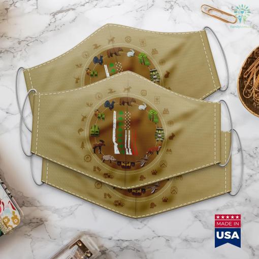 Va Hunting Season Irish American Flag Gun St. Patricks Day 2020 Hunting Cloth Face Mask Gift %tag familyloves.com