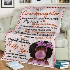 To My Granddaughter There Was A Little Girl Who Stole My Heart Love Grandma Sherpa Fleece Blanket %tag familyloves.com